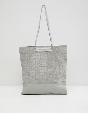 Asos Design Croc Embossed Suede And Leather Per Bag