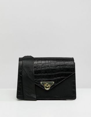 ASOS DESIGN croc leather mix shoulder bag