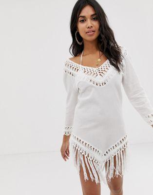 ASOS DESIGN Crochet Insert Dress With Tassels