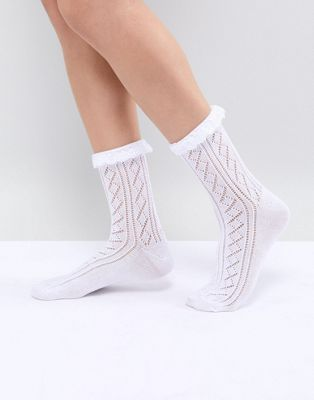 ASOS DESIGN Crochet Lace Frill Ankle Socks