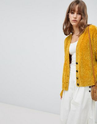 ASOS DESIGN Cropped Cardigan In Chenille With Buttons