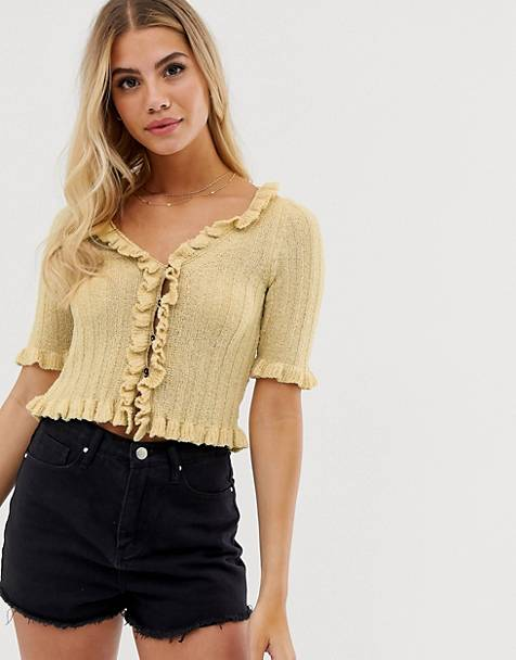 6d11fe4f31 ASOS DESIGN cropped cardigan with ruffle edges