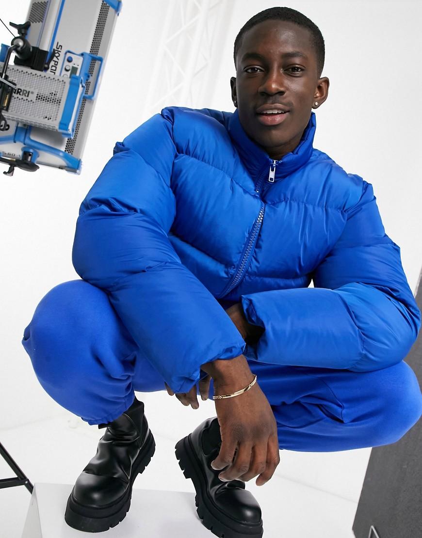 ASOS DESIGN Cropped gewatteerd puffer jack in kobaltblauw