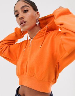 ASOS DESIGN - Cropped hoodie met korte rits in oranje