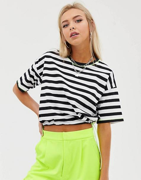 93fd4cba2f6 ASOS DESIGN cropped t-shirt in stripe with neon toggle and contrast  stitching