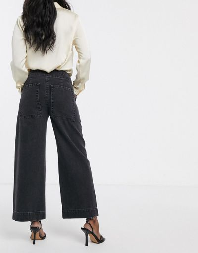 ASOS DESIGN Cropped wide leg carpenter jeans in washed black