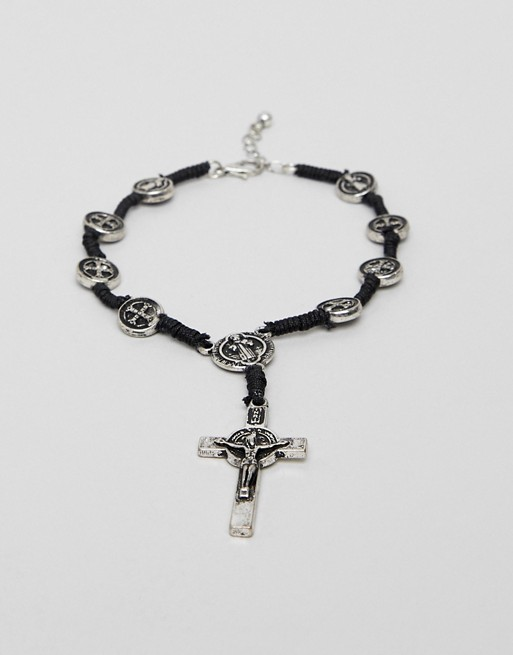 Image 1 of ASOS DESIGN cross and coin bracelet in burnished silver