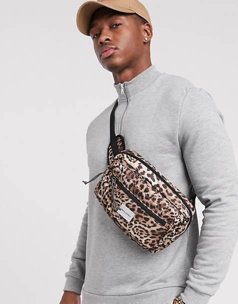 ASOS DESIGN cross body fanny pack in leopard print