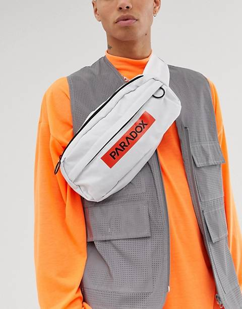 ASOS DESIGN cross body fanny pack in white with text print