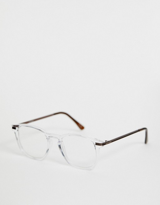 Image 1 of ASOS DESIGN crystal glasses in clear with clear lens and bronze metal temples