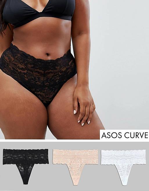 ASOS DESIGN Curve 3 pack deep lace thong