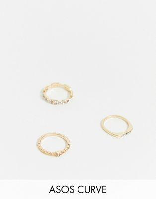 ASOS DESIGN Curve – 3er-Pack Ringe in Gold mit Gliederkettendesign, feinem Stegdetail und Strass