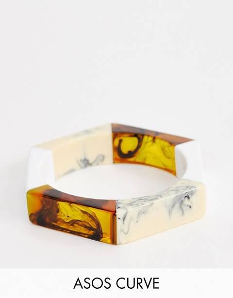 ASOS DESIGN Curve bangle bracelet in mixed resin hexagon design