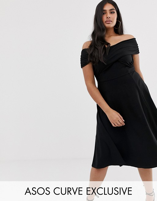 Image 1 of ASOS DESIGN Curve bardot midi skater dress
