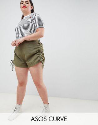 ASOS DESIGN Curve basic ruched side shorts