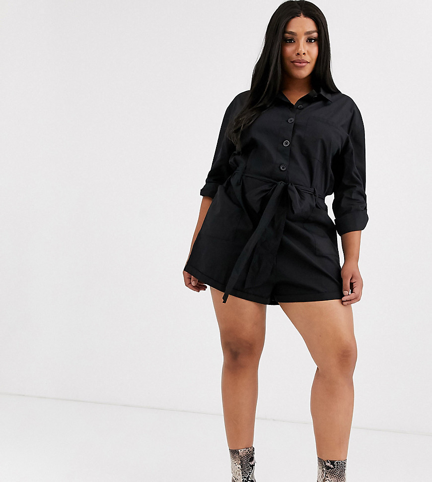 Plus-size playsuit by ASOS DESIGN Part of our responsible edit Spread collar Button placket Tie waist Side pockets Regular fit Just select your usual size