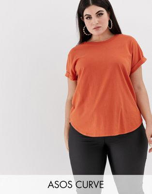 Bild 1 von ASOS DESIGN Curve – Boyfriend-Shirt mit aufgerollten Ärmeln und abgerundetem Saum in Rostbraun