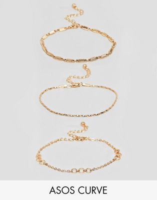 ASOS DESIGN Curve bracelet pack of 3 with cut link and twist chain detail in gold