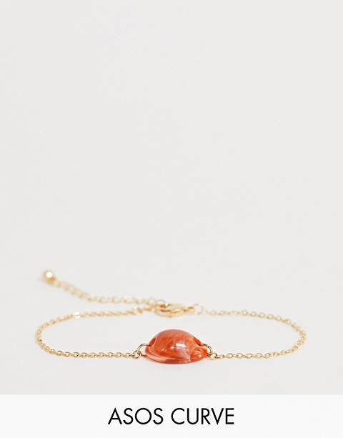 ASOS DESIGN Curve bracelet with faux conch shell in gold