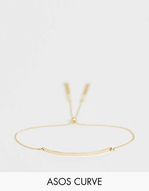 ASOS DESIGN Curve bracelet with toggle chain and metal bar in gold tone
