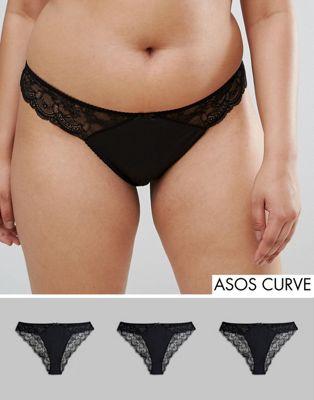 ASOS DESIGN – Curve – Brazilian-trosor i mikrofiber och söt spets, 3-pack