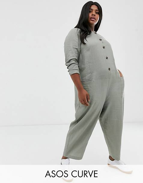 ASOS DESIGN Curve button front boiler with long sleeve