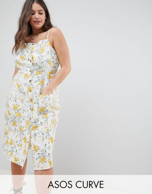 ASOS DESIGN Curve button through linen midi sundress in floral print