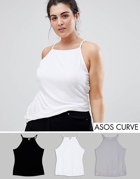 ASOS DESIGN Curve cami with square neck in fitted rib 3 pack SAVE