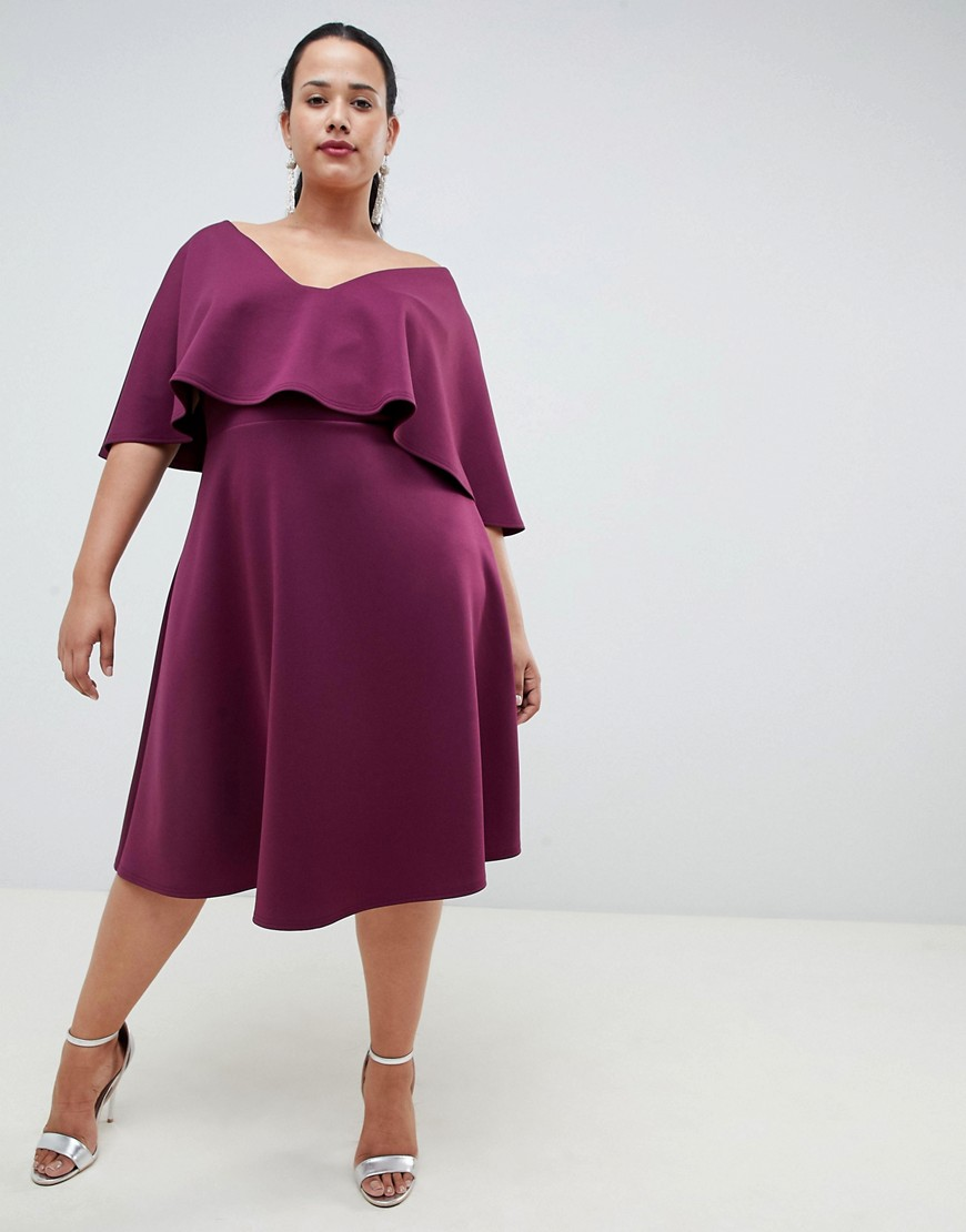 Asos Design Curve Cape Midi Prom Dress by Asos Design