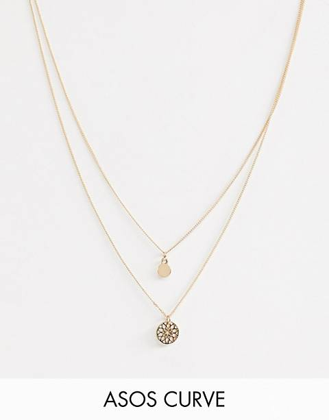 ASOS DESIGN Curve chakra multirow necklace