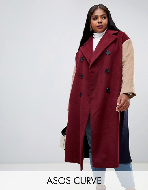 Image 1 of ASOS DESIGN Curve coat with contrast blocking