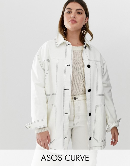 Image 1 of ASOS DESIGN curve contrast stitch cotton jacket