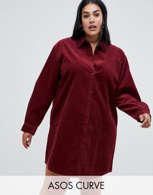 ASOS DESIGN Curve cord shirt dress in oxblood