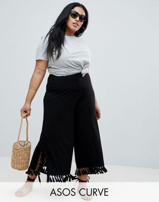 ASOS DESIGN CURVE cropped wide leg trousers with large tassel hem