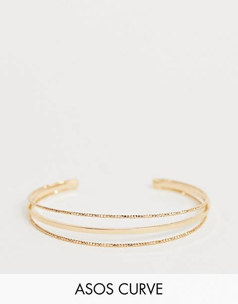 ASOS DESIGN Curve cuff bracelet in split design with smooth and engraved bar in gold
