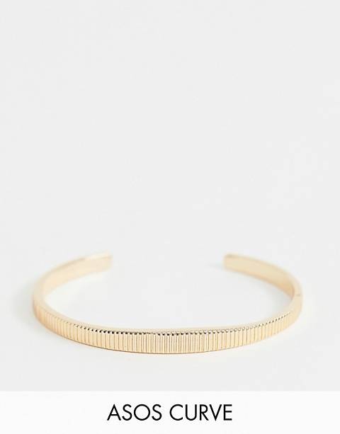 ASOS DESIGN Curve cuff bracelet in textured design in gold