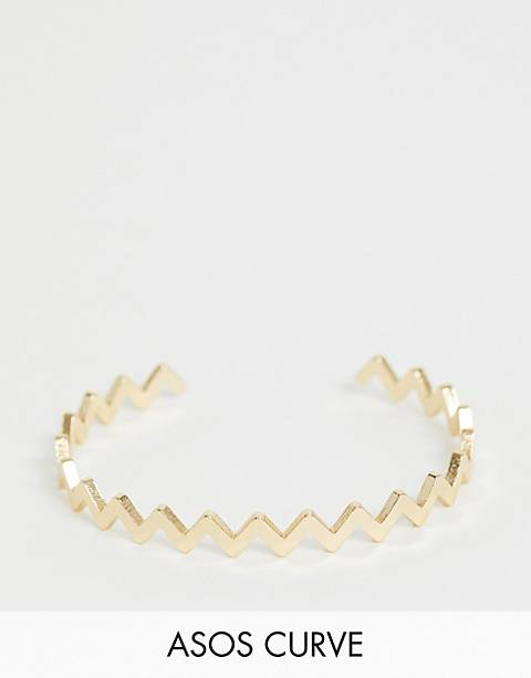 ASOS DESIGN Curve cuff bracelet in zig zag design in gold