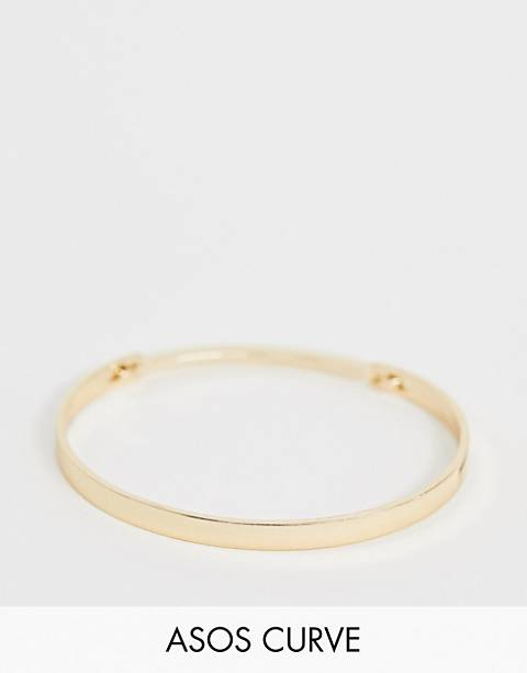 ASOS DESIGN Curve cuff bracelet with sleek hinge in gold tone