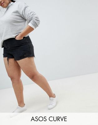 Image 1 of ASOS DESIGN Curve denim short with raw hem in washed black with rips