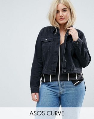 ASOS DESIGN Curve denim shrunken jacket in washed black