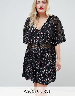 ASOS DESIGN Curve ditsy lace insert casual tea mini dress