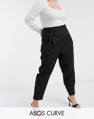 ASOS DESIGN Curve – Elegante Ballonhose mit weitem Bein und hoher Taille Damen Winterkleidung Qx772
