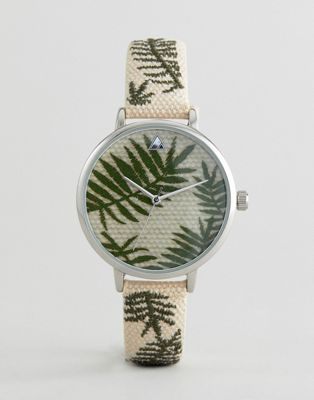 ASOS DESIGN Curve Embroidered Palm Leaf Woven Watch