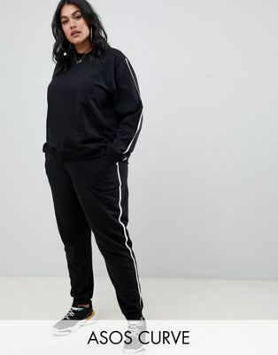 ASOS DESIGN Curve - Ensemble sweat-shirt et pantalon de jogging à nouer avec bordures contrastées
