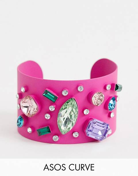 ASOS DESIGN Curve exclusive cuff bracelet in color pop design with rainbow jewels