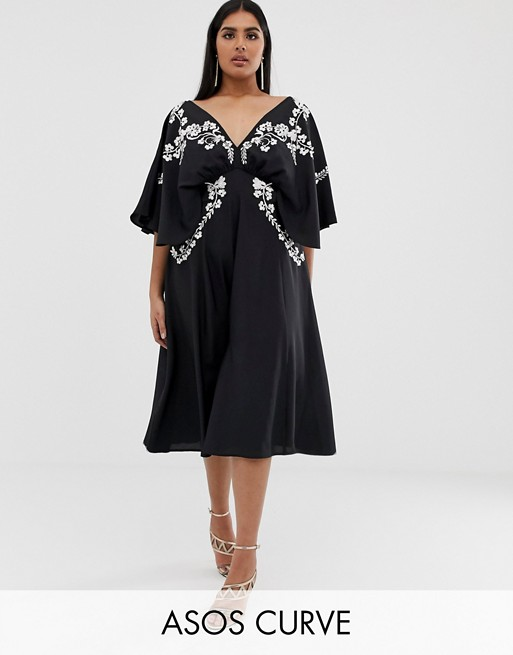 ASOS DESIGN Curve EXCLUSIVE kimono sleeve midi dress with mono embroidery