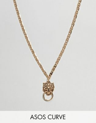 ASOS DESIGN Curve Exclusive Lionhead Door Knocker Necklace