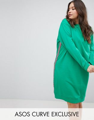 ASOS DESIGN Curve exclusive midi sweat dress with side stripe