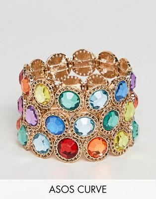 ASOS DESIGN Curve Exclusive pack of 3 bracelets with multicolour jewels in gold