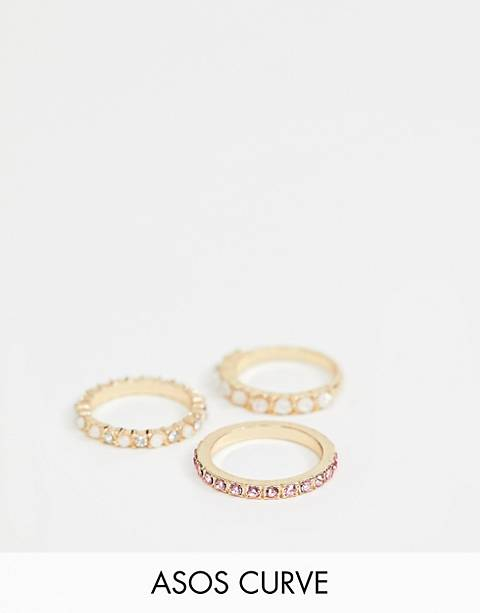 ASOS DESIGN Curve exclusive pack of 3 rings with faux opal stones and crystals in gold